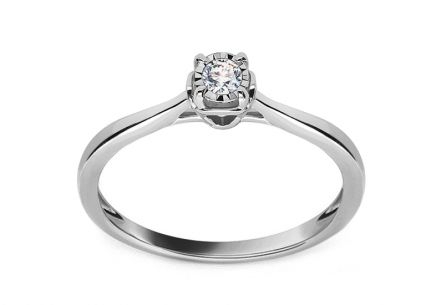 White gold engagement ring with 0.050 ct Naiara diamond