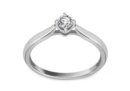 White gold engagement ring with 0.050 ct Panthea diamond