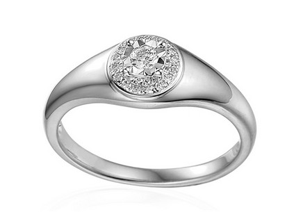 White gold engagement ring with 0.130 ct Mallory diamonds