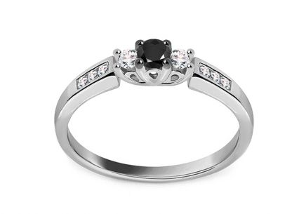 White gold engagement ring with black and clear diamonds 0.240 ct Ilanna