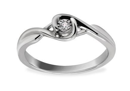 White Gold Engagement Ring with Diamond 0.010 ct Etos 2