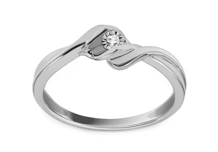 White Gold Engagement Ring with Diamond 0.010 ct Tandy