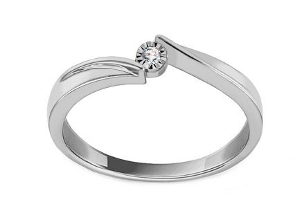 White Gold Engagement Ring with Diamond 0.010 ct Vanora
