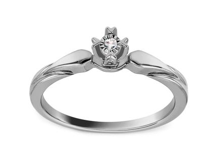 White Gold Engagement Ring with Diamond 0.010 ct Vicia