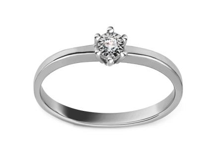 White Gold Engagement Ring with Diamond 0.020 ct Kamia