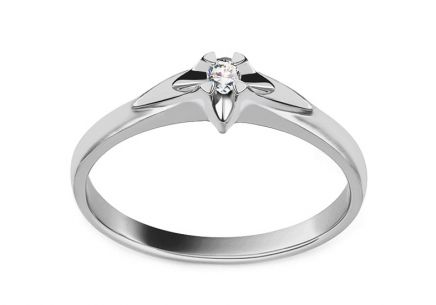 White Gold Engagement Ring with Diamond 0.040 ct Always collection