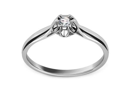 White Gold Engagement Ring with Diamond 0.040 ct Laila