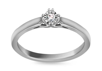 "White Gold Engagement Ring with Diamond 0.040 ct ""Maegan"""