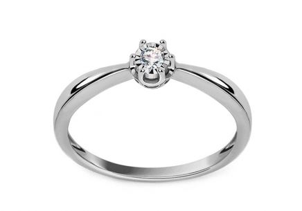 White Gold Engagement Ring with Diamond 0.050 ct