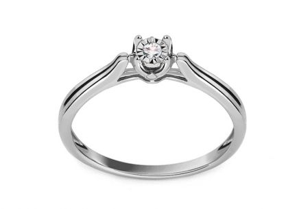 "White Gold Engagement Ring with Diamond 0.050 ct ""Devera"""