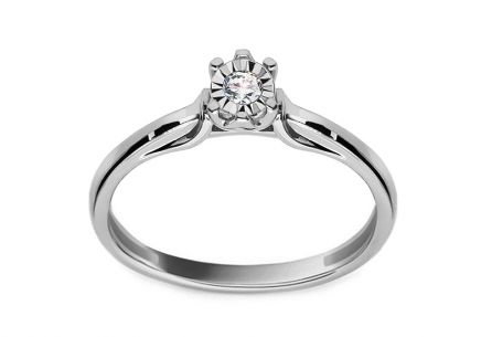 White Gold Engagement Ring with Diamond 0.050 ct Molara