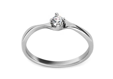 "White Gold Engagement Ring with Diamond 0.060 ct ""Kamilah"""