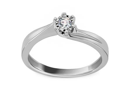 White Gold Engagement Ring with Diamond 0.070 ct Nadira