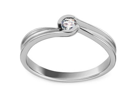 White Gold Engagement Ring with Diamond 0.080 ct Alurea