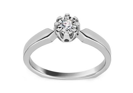 White Gold Engagement Ring with Diamond 0.080 ct Clarissa