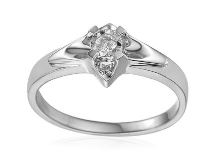 White Gold Engagement Ring with Diamond 0.100 ct Always