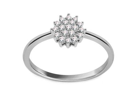 White Gold Engagement Ring with Diamond 0.100 ct Cyntia