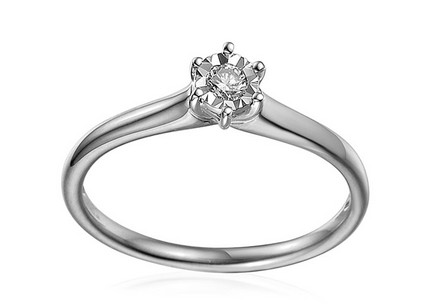 White Gold Engagement Ring with Diamond 0.100 ct Navi