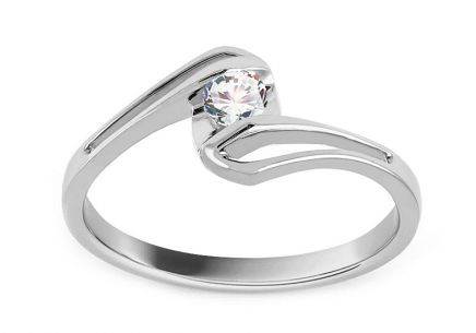 White Gold Engagement Ring with Diamond 0,150 ct Adelie