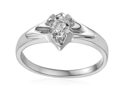 White Gold Engagement Ring with Diamond 0.150 ct Always