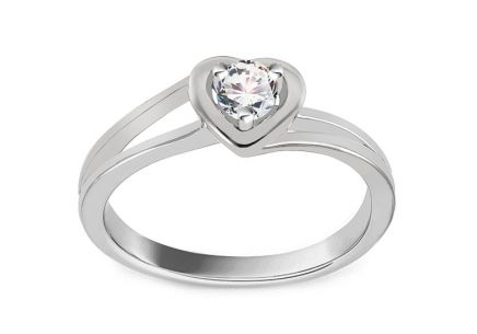 "White Gold Engagement Ring with Diamond 0.150 ct ""Sweet Heart"""