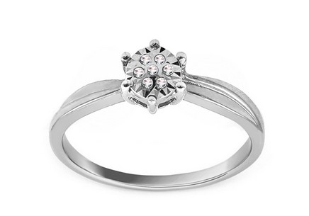 White Gold Engagement Ring with Diamonds 0.030 ct Baina