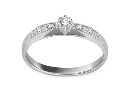 White Gold Engagement Ring with Diamonds 0.070 ct Odelia