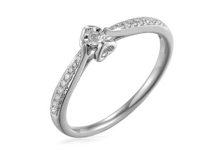 White Gold Engagement Ring with Diamonds 0.080 ct Evette 2