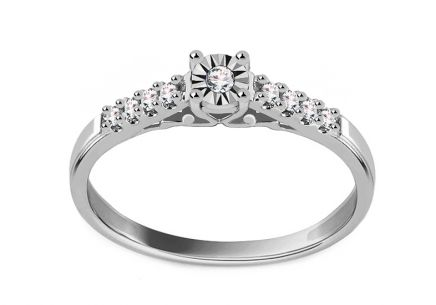 White Gold Engagement Ring with Diamonds 0.090 ct Gallia