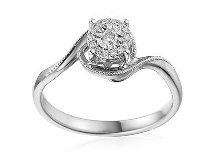 White Gold Engagement Ring with Diamonds 0.090 ct Shenna