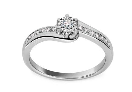 White Gold Engagement Ring with Diamonds 0.100 ct Ameline