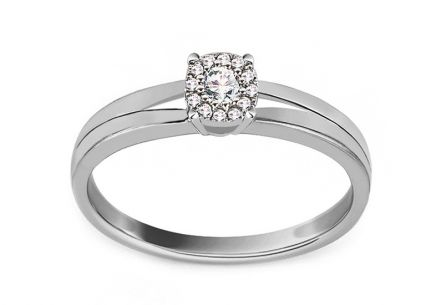 White Gold Engagement Ring with Diamonds 0.100 ct Muriel