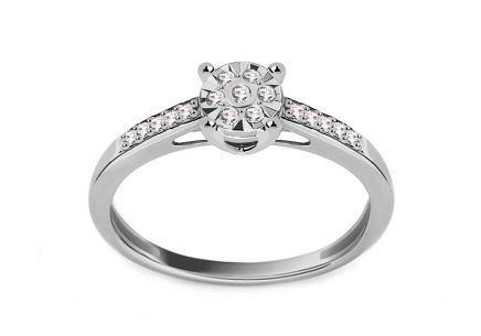 White Gold Engagement Ring with Diamonds 0.100 ct Parisa