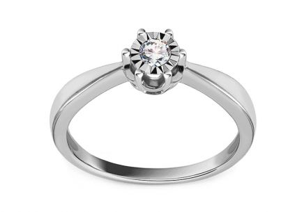 White Gold Engagement Ring with Diamonds 0.100 ct Wynona 2