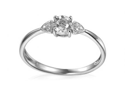 White Gold Engagement Ring with Diamonds 0.110 ct Francine