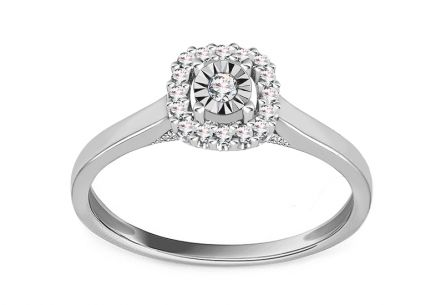 White Gold Engagement Ring with Diamonds 0.110 ct Kasiana