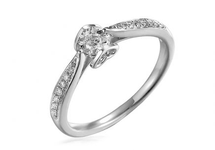 White Gold Engagement Ring with Diamonds 0.190 ct Evette 3