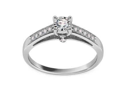 White Gold Engagement Ring with Diamonds 0.200 ct Cybille