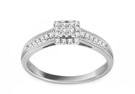 White Gold Engagement Ring with Diamonds 0.200 ct Markia