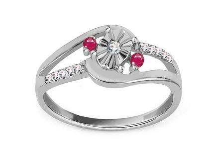 White Gold Engagement Ring with Ruby and Diamonds 0.070 ct Sanai