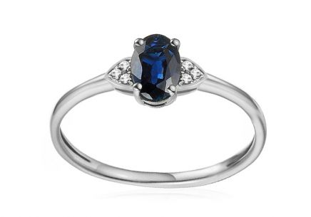 White Gold Engagement Ring with Sapphire and Diamonds 0.020 ct Chattie