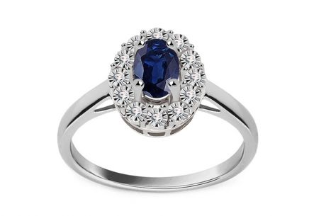 White Gold Engagement Ring with Sapphire and Diamonds 0.050 ct Caliana