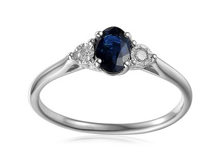 White Gold Engagement Ring with Sapphire and Diamonds 0.080 ct Stenya