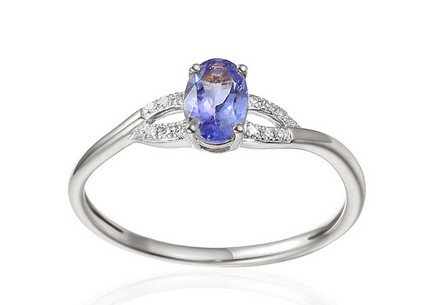 White Gold Engagement Ring with Tanzanite and Diamonds 0.030 ct Kassia 4