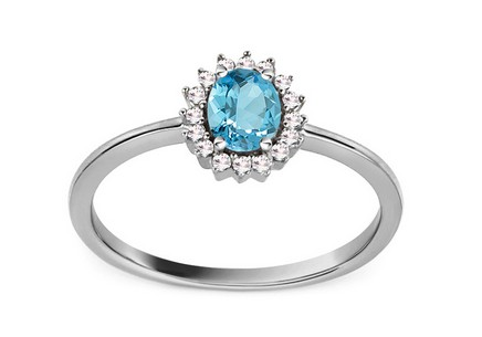 White Gold Engagement Ring with Topaz and Diamonds 0.070 ct Naula