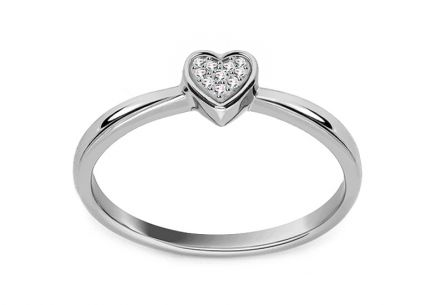 White gold heart engagement ring with 0.020 ct diamonds