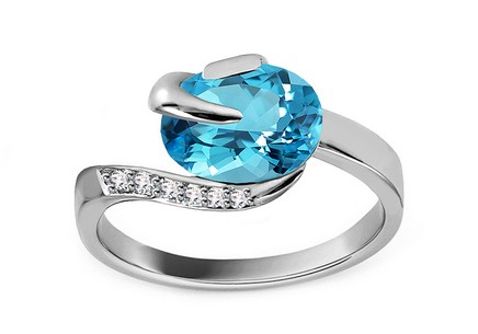 White Gold Ring with Topaz and Diamonds Brea 0,030 ct