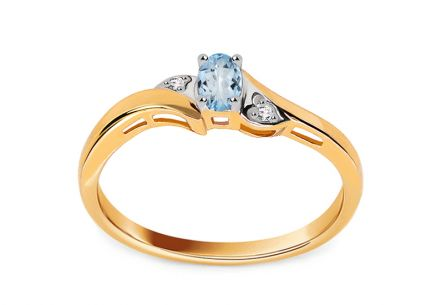 Gold engagement ring with topaz and diamonds 0.010 ct