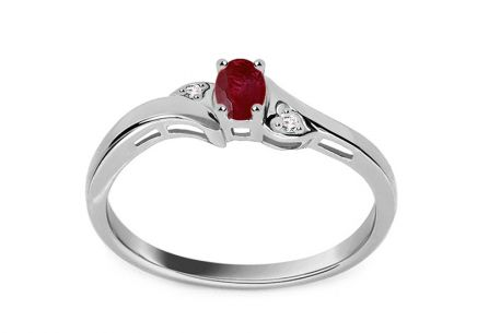White Gold Engagement Ring with Ruby and Diamonds 0.010 ct
