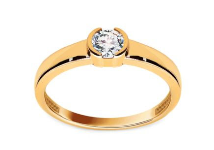 Fine Gold Engagement Ring with Zircon